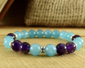 Beaded bracelet Women bracelet Girlfriend gift Christmas gift for wife Everyday bracelet Aquamarine bracelet Amethyst Bracelet Blue bracelet