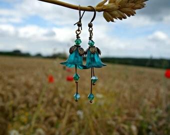 Teal Earrings - Flower Earrings - Aqua Earrings - Floral Earrings - Dangle Drop Earrings - Turquoise Jewelry - Vintage Style Boho Earrings.