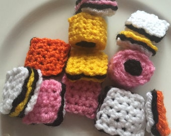 Liquorice Allsorts Sweets, 12 Crocheted Liquorice Allsorts, Retro Sweets, Play Food, Crochet Handmade Sweets, Party Favours, Sweets, Display