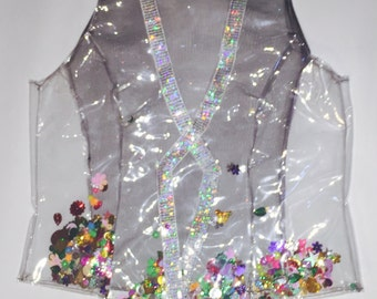 Clear vest with holographic trim