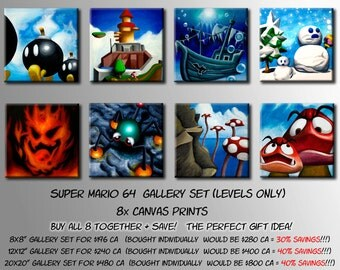 Super Mario 64 Gallery Set!  Choose the 8 levels OR all 10 Paintings from the Princess's Castle (Canvas Prints) BUY MORE + Save!!!