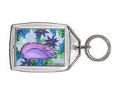 Purple Cat Keychain Dreaming Flowers Garden Spring Fantasy Cat Art Keychain Keyring Cat Lovers Gifts