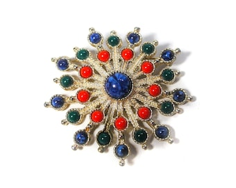 70s Starburst Carnival Brooch, Mod Brooch, Bold 1970s Brooch, Sarah Coventry Brooch, Red Green Blue Brooch, Starburst Brooch, 70s Pin