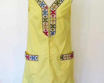 Vintage 1960s Ken robes by Kenrose / Yellow House Dress / Embroidered Lounger / A-line Shift
