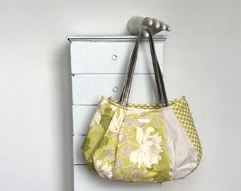Large Hobo GREEN TEA = Amy Butler peony flower grey lemongrass green ivory polka dot natural linen vegan leather jennjohn handbags