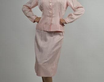 Vintage Suit, 40s Suit, Pink Suit, Pin-Up Suit, Spring Suit, 1940s Suit, Church Suit, Professional Suit, Bridesmaid Suit, Size Small