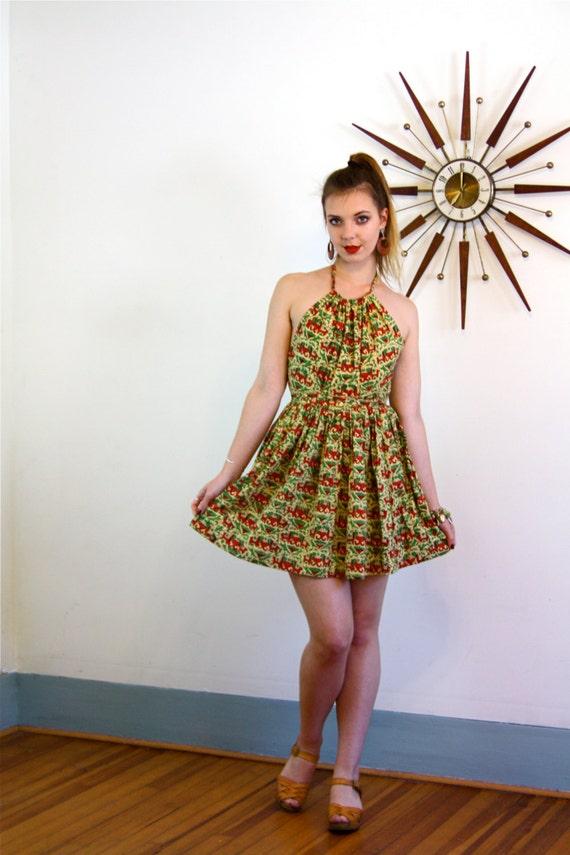 Indian wrap dress, 70s Tapestry Dress, India Block Print, Cotton Boho dress, 70s Halter dress, 1970s sundress, hippie Mini Dress, Elephants