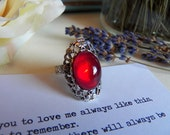 HOLIDAY RING SALE - A Vintage Ruby Red Glass Silver Adjustable Ring, Handmade Romance Inspired Jewelry by HoneyNest