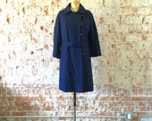 Mod Coat Navy Blue 1960s Vintage Wool Swing Coat Asymmetrical Buttons M