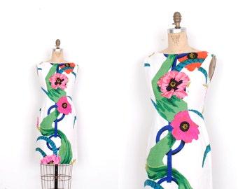 Vintage 1960s Dress / 60s La Mendola Floral Print Cotton Mini Dress / White Pink Green (small S)