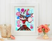 The Tree of Magic- Fine Art Print. Tree of life, art painting flowers, bohemian, folk, funky, naive, primitive.