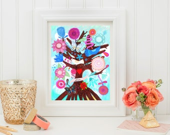 The Tree of Magic- Fine Art Print. Tree of life, art painting flowers, bohemian, folk, funky, naive, primitive.