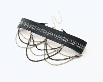 chain choker | black choker | leather choker | choker necklace | chain necklace | punk rock jewelry | leather collar | goth choker | gothic