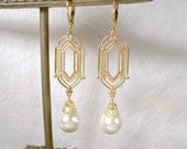 1920's Art Deco Ivory Pearl Dangle Earrings, Long Gold Bridal Statement Drops, Downton Abbey Vintage Wedding Great Gatsby Bridesmaid Jewelry