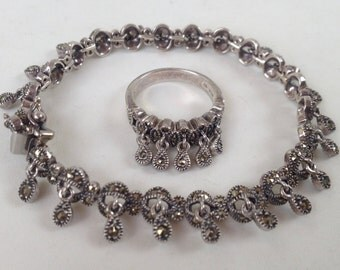Art Deco Style Articulated Marcasite Judith Jack Bracelet Ring Set – 1980s Sterling
