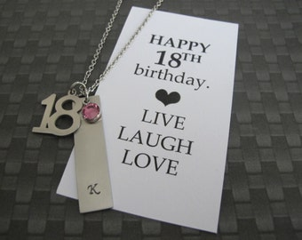 18th Birthday Card - 18th Birthday Gift - Vertical Bar Necklace - Bar Necklace - Best friend Gift -  Daughter Gift