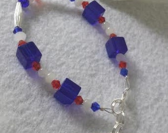 Patriotic bracelet with coqui charm free shipping!