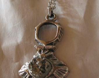 Silver Kelo pendant with stone by PENTTI SARPANEVA Finland, with silver chain