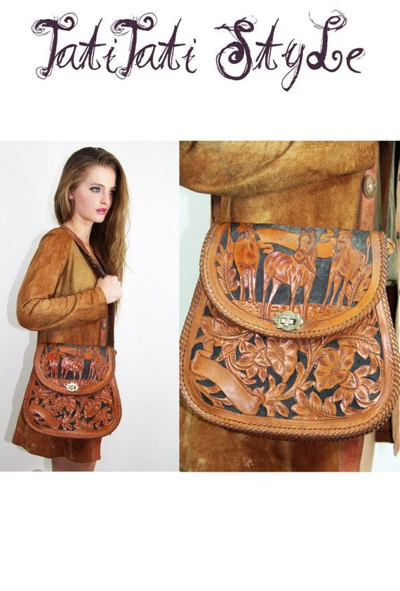 Vintage 70's Mexican LEATHER Bag Purse TOOLED Floral Shoulder Bag Flores + Horses // Vintage Bags by TatiTati Style on Etsy