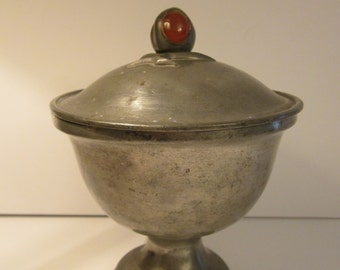 "Antique Chinese Pewter Pedestal Dish -  Lid with Carnelian Cabochon Finial - Marked ""Old Capital"" with Peking China Address"