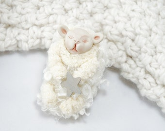 Sleeping Little Lamb - OOAK White Lamb Art Doll - Sheep Art Doll - Mary Had A Little Lamb Art Doll - Handmade Clay And Fiber Art Lamb Doll