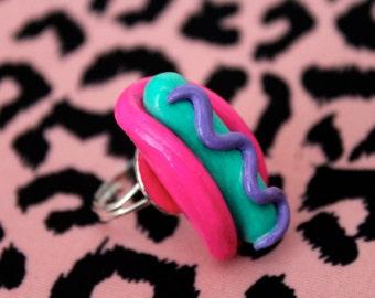 Hot Dog Ring   {pop art / pastel / food / kitschy / rainbow / adjustable ring}