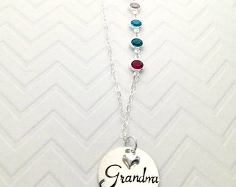 Birthstone Family Necklace - Grandma's Mother's Family Brag Necklace - Unique Gifts for mom -Mother's Day Gifts for her-The Charmed Wife