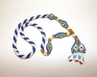 Vintage WW1 Ottoman Turkish Prisoner of War beaded glass beadwork necklace POW art early 1900s
