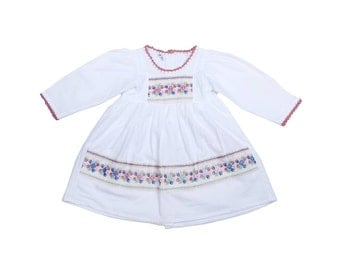 White Children Dress for Girls Embroidered Flower Strip from Thailand (AP7995-C24L)
