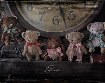 "3.3"" Inch Artist Handmade Ooak TEDDY By OddPrincess, Miniature Teddy, CHOCOLATE Collection, Friend For BLYTHE"