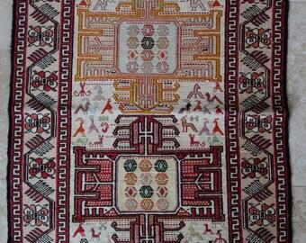 2 by 3 rug / Vintage Oushak Rug / Vintage Rug / Turkish Oushak Rug / Kilim Rug / Oushak Rug / Silk Rug / Kitchen Rug / Persian Rug