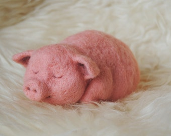 Needle Felted Piglet, Handmade Animal, Sleeping Piggy, Felted Pink Pig - READY TO SHIP