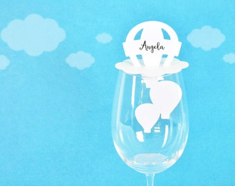 Hot Air Balloon Wine Glass Place Cards Set of 24