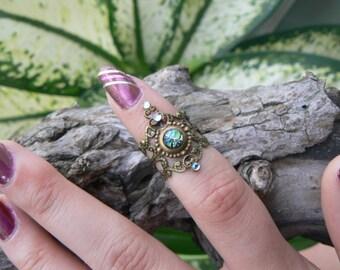 fire opal midi ring armor ring  elfin cosplay claw ring Emerald Sea Green Fire Opal festival goth victorian moon goddess pagan boho gypsy