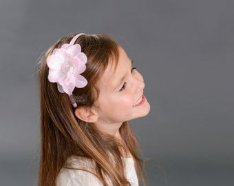 PINK SEQUIN FLOWER headband-Flower Headband-Pink flower-Sequin-Toddler-Child-Light Pink-Plastic Headband