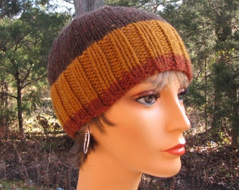 Brown Wool Beanie - Soft Warm Knit Hat - Striped Wool Beanie - Warm Winter Skullie - Wooly Brown Stripes - Gift for Him