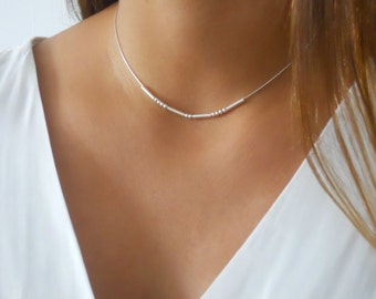 Dainty Sterling Silver beads Necklace, Silver Collar Necklace, Silver Choker Necklace, Layered Silver Necklace, Silver Beads Necklace, #314