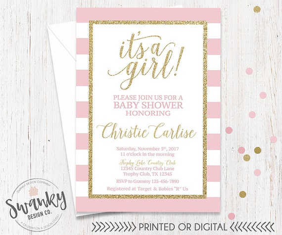 Pink and gold baby shower invitation its a girl invitation pink il570xn filmwisefo
