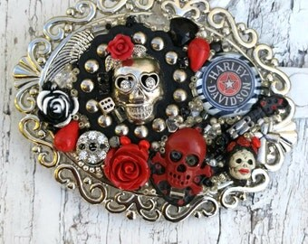 Red And Black Skull Belt Buckle, Sugar SkuLl BuCkle, Biker Bling, Motorcycle BUcKle, One Of A Kind, Antique Silver