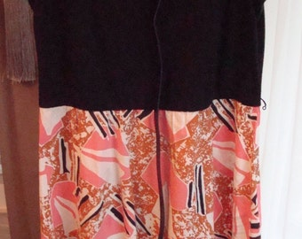 "Vintage ""Carib"" Abstract Print Sleeveless Dress - Size 16P - Excellent Vintage Condition!!"