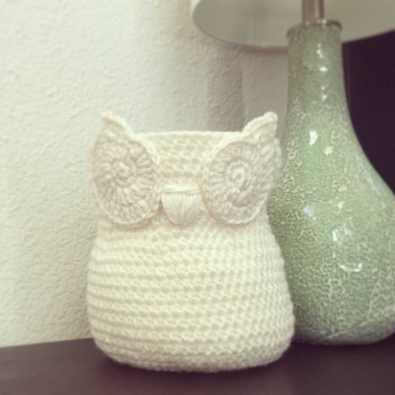 Handmade Crochet Basket : Small chic handmade crochet owl basket home decor by