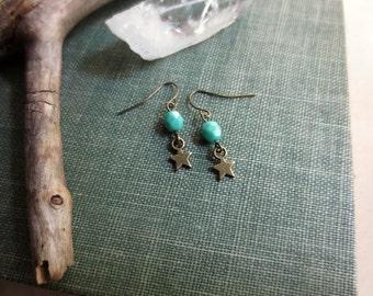 Little Star Earrings, Mini Stars, Turquoise Beaded Earrings, Small Star Earrings, Celestial, Brass Star Earrings