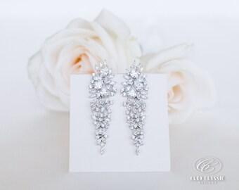 Long Bridal Earrings | Wedding Jewelry | Bridesmaid Earrings | Bridal Earrings | Drop Earrings