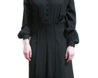 VINTAGE 40s DRESS BLACK Film Noir Longsleeve Pleated mid long 1940s Womens European genuine vintage clothing Ateljee hand made S  M Costume
