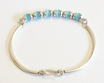 """Sterling Silver And Aqua Cats Eye Bracelet 7"""""""
