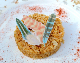 Edible Feathers Mango Maya Boho Wedding Cake Decorations Wafer Rice Paper Orange Blue Rustic 1st Birthday Parties Cupcake Cookie Toppers RTD