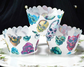 Edible Cupcake Wrappers Calavera Sugar Skulls Chintz x12 Wafer Rice Paper Day of the Dead Decorations Halloween Pattern Fairy Cake Cupcake