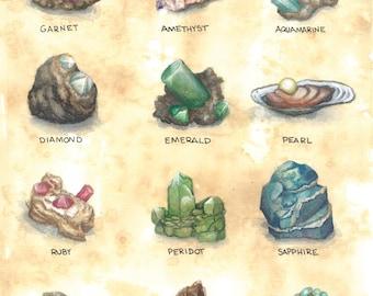 SALE** Birthstone Study Watercolor Print