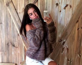 Cozy Off Shoulder Sweater, Off Shoulder Sweater, Loose Knit Sweater, Cozy Sweater, Brown Sweater, Loose Knit Sweater, Open Waves Sweater