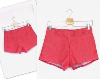Vintage Stretch Denim Mid Waist Melon Red Shorts Front Zipper / size UK 8-10